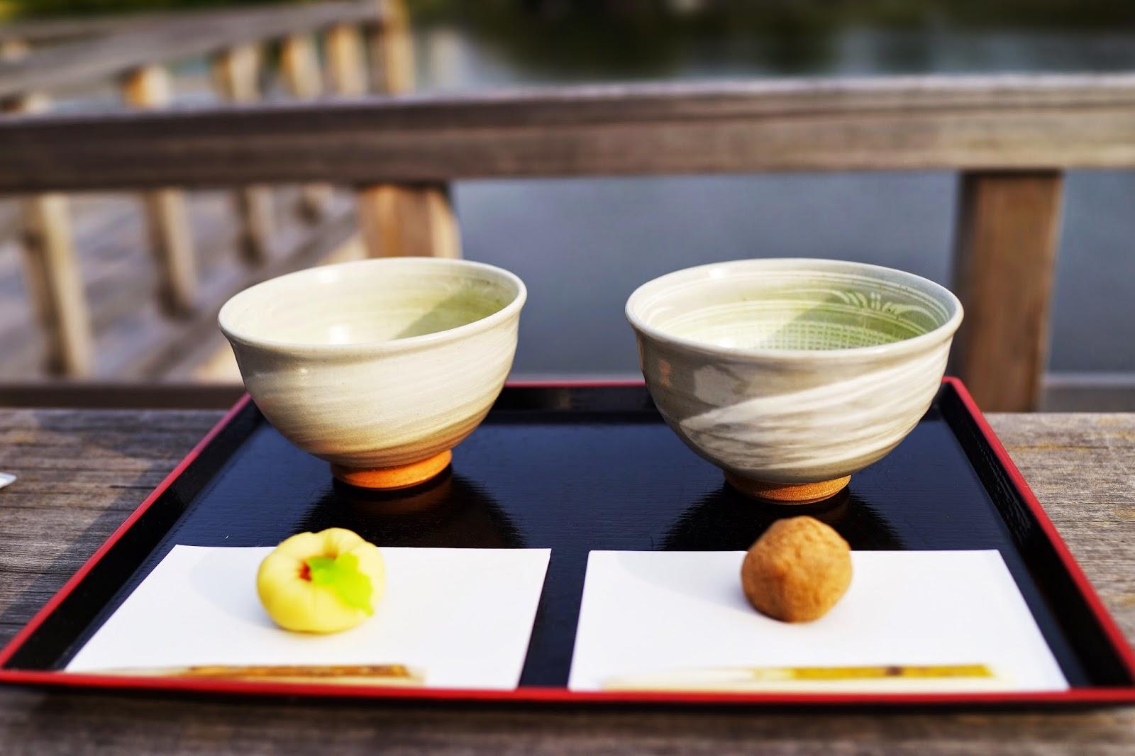 matcha green tea Hamarikyu Gardens near Tsukiji overlooking lake tokyo japan