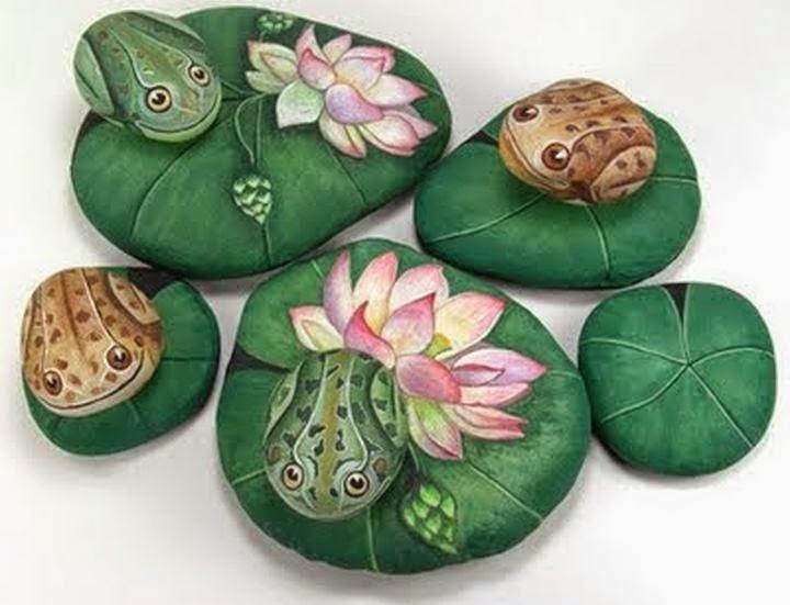 Tutorial de artesan as ernestina gallina una artista con for Pintura sobre piedras