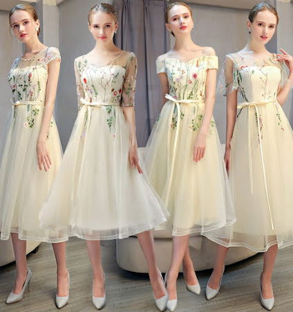 2017 4-Design Floral Embroidery Past Knee Length Bridesmaids Dress