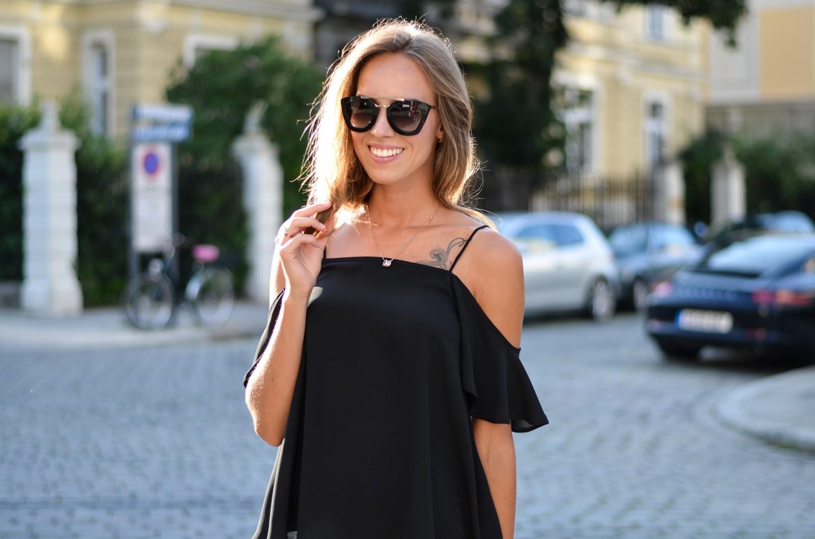 kristjaana mere black asos off shoulder top prada sunglasses summer outfit