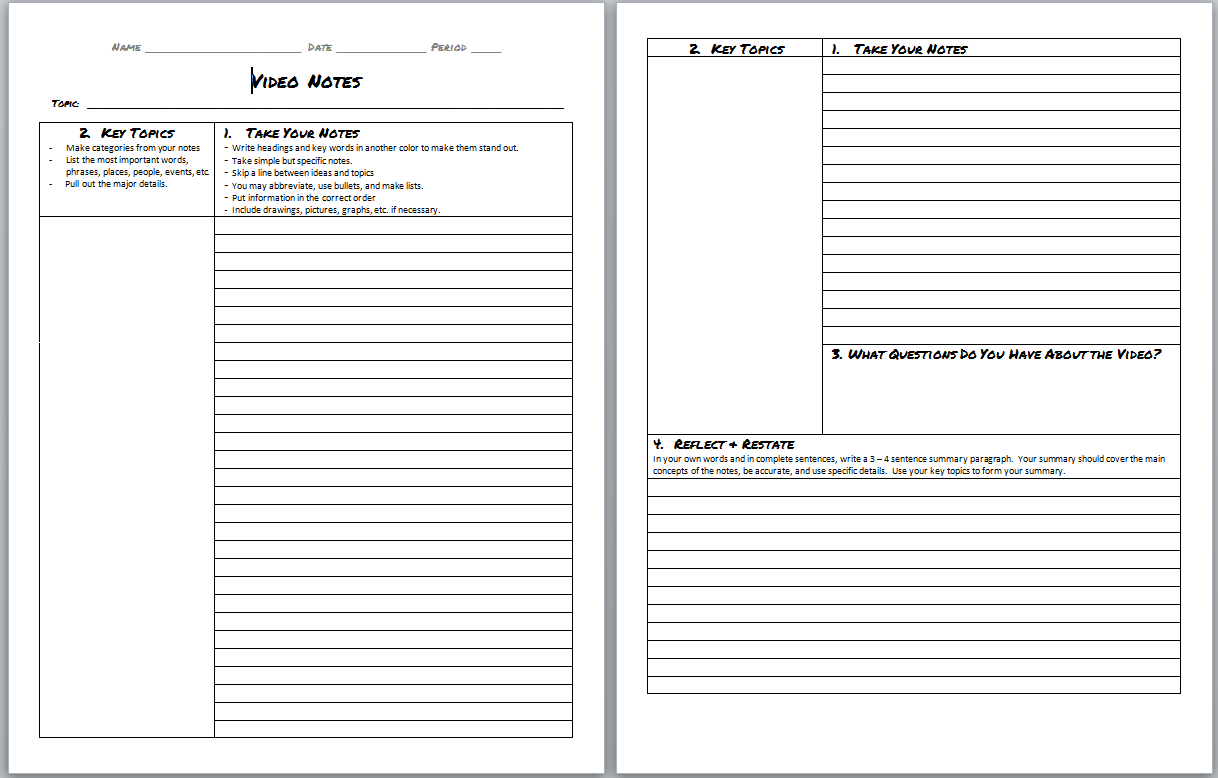 note taking template microsoft word – Note Taking Template Microsoft Word