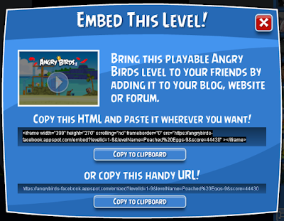 Angry Birds Share & Play. For Facebook Timeline, Blog or any Web Page!