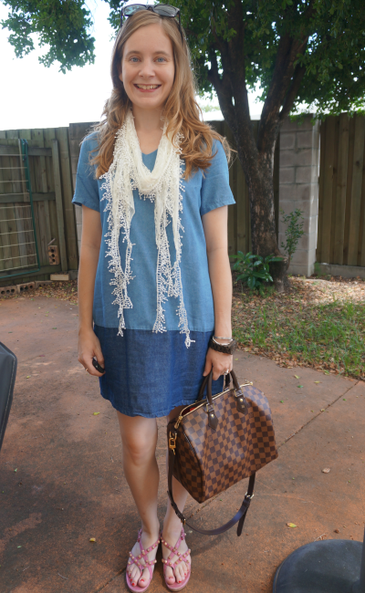Summer Style Chambray Shift Dress White Scarf Studded Sandals LV Speedy