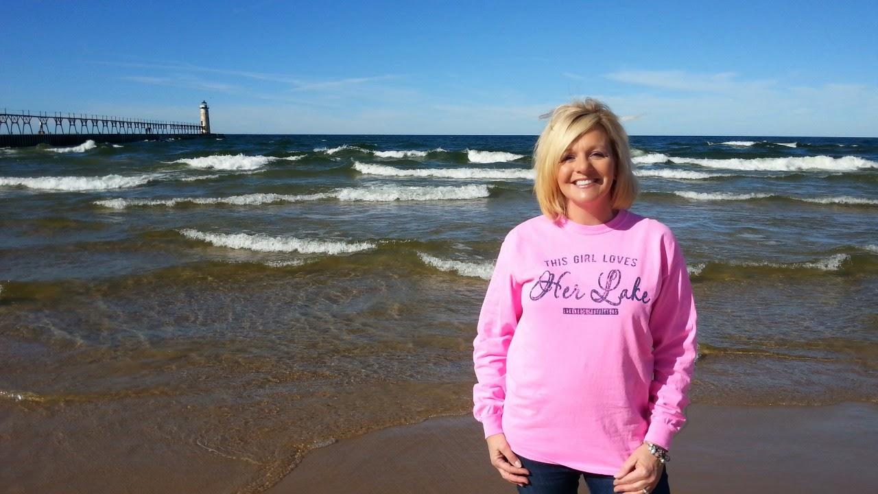 Manistee Pier, City of Manistee, Manistee Lighthouse, Lake Michigan, this girl loves her lake tee shirt, lake wear, lake life apparel, weekend lake wear
