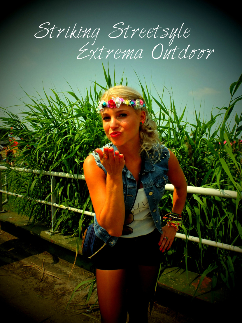 Striking Streetstyle | Extrema Outdoor Peeps by La Vie Fleurit !!! Streetstyle, Festival, Fashion, Beauty, Lifestyle, Photography, Style, look, Styling, Casual, Party, Fun, Summer, XO Live, Fotografie, Shorts, Studs, Flower garland, Fleur Feijen, Blogger, Blog
