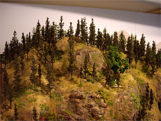 Completed mountain forest scene tree-line