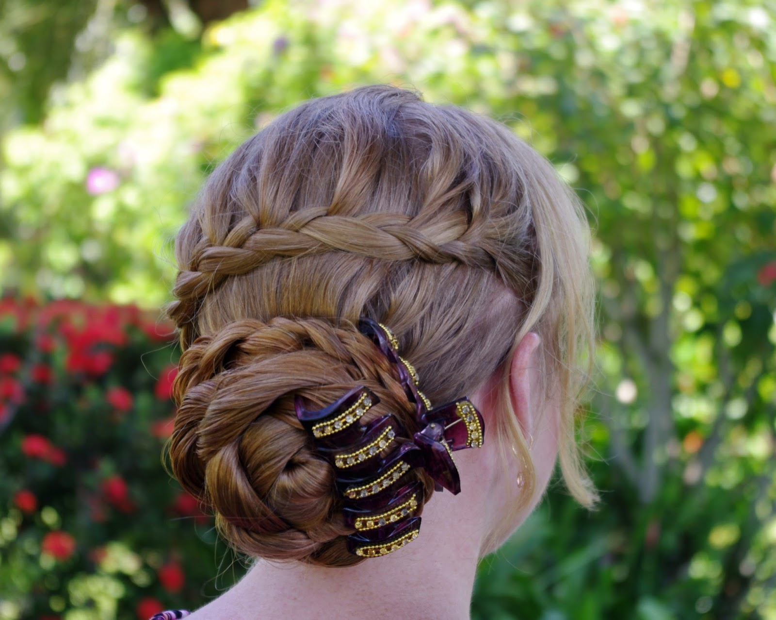 Braids & Hairstyles for Super Long Hair: My look for today~ Lace Braid and Rose Bun (with wet hair)