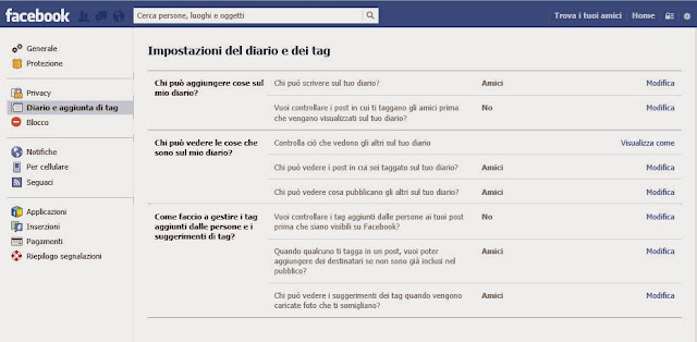 Privacy diario e tag - Facebook