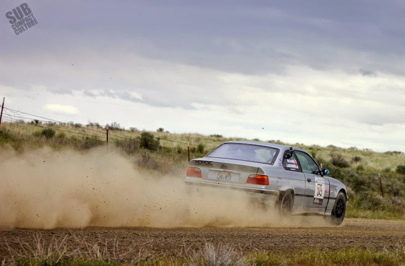 BMW braking into a corner at Oregon Trail Rally