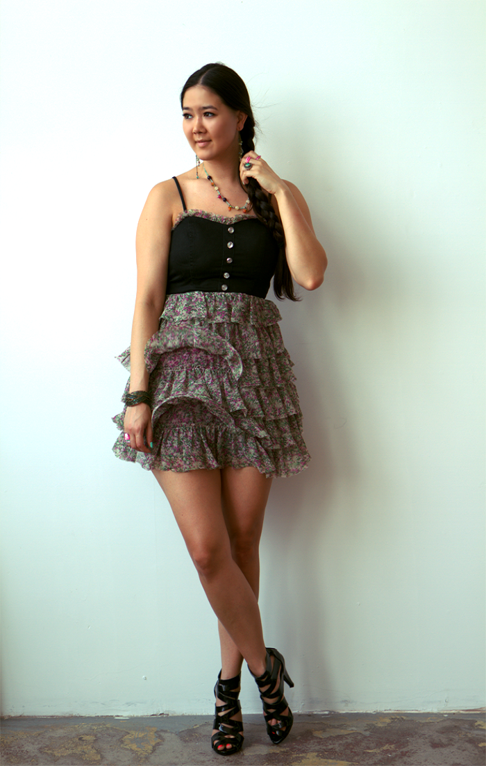 floral dress with black shoes