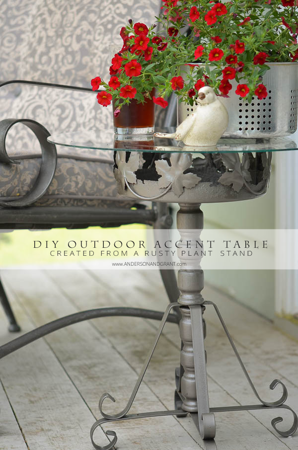 DIY Outdoor Accent Table created from a rusty plant stand. |  www.andersonandgrant.com