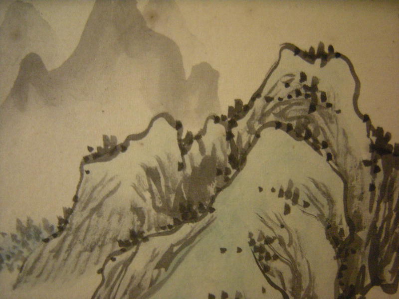 Chinese watercolor on silk landscape 丙辰秋月水石