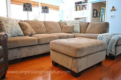Before of dated family room to beautiful and bright ::OrganizingMadeFun.com