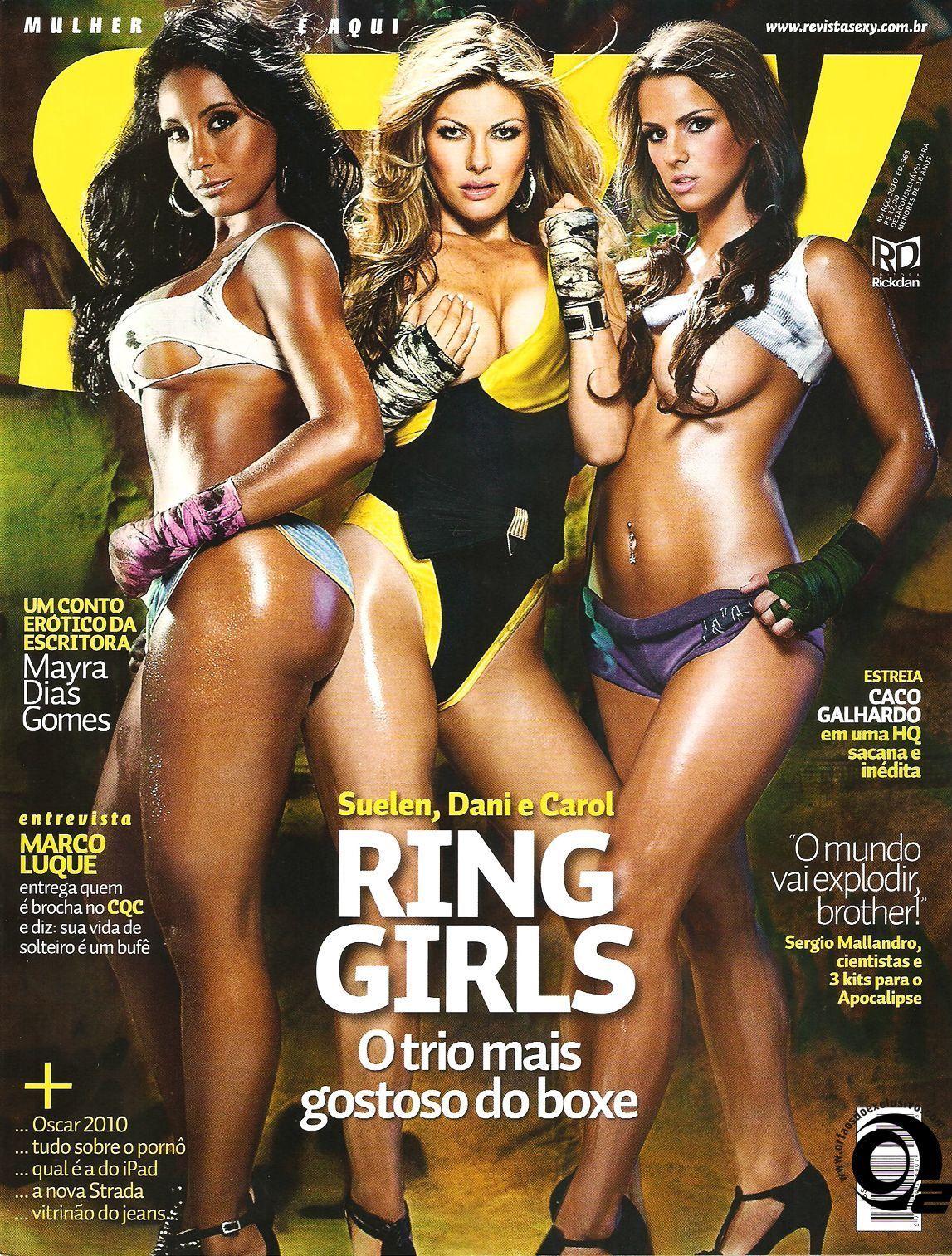 ... fotos das Ring Girls, Suelen, Dani e Carol, capa da Sexy de março de