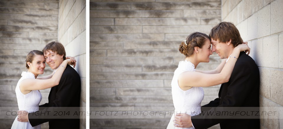 photo of a bride and groom outside White Chapel in Terre Haute, IN
