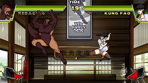 Dive Kick screen shot of two players in flight.