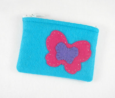 Pink Butterfly Treasures Mini Felt Zipper Pouch