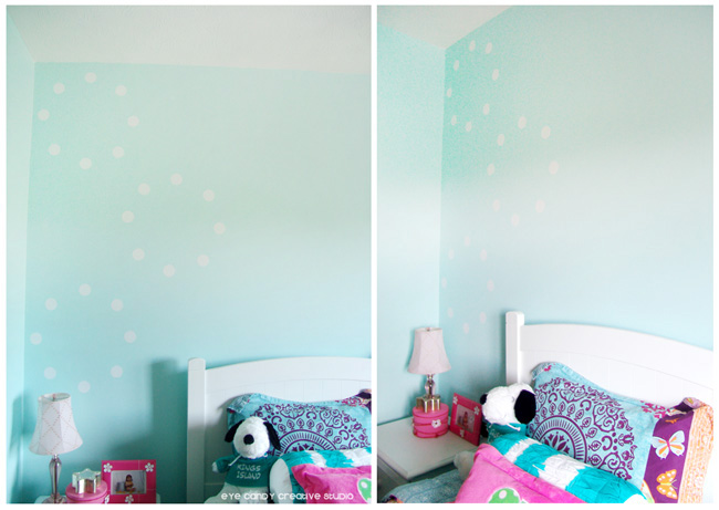 vinyl circle design on tween bedroom wall, girls room decor, white circle design