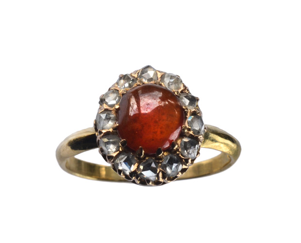 Gorg rose cute garnet and diamond vintage ring from Erie Basin