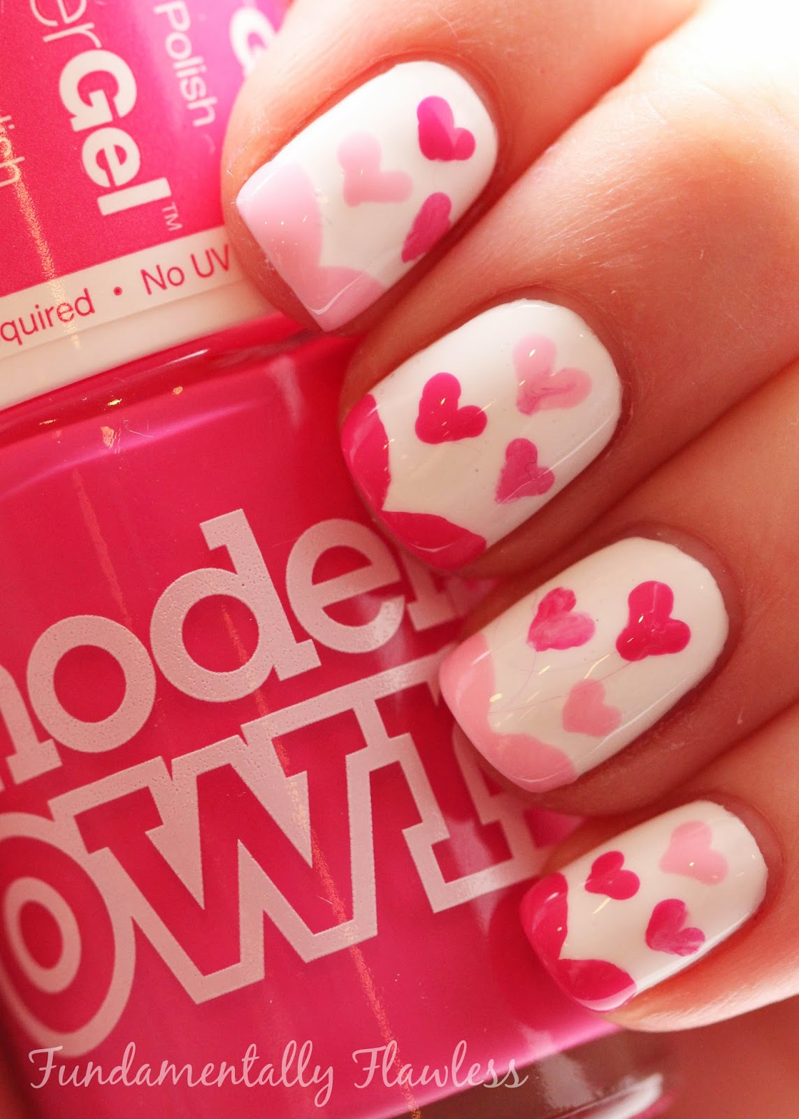 Valentine's Day nail art with Models Own Cerise Shine