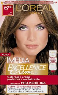 Pintei o cabelo - Loreal - Imédia Excellence cor Mel Tabaco