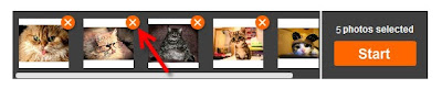 удаление фотографий из набора добавляемых в коллаж