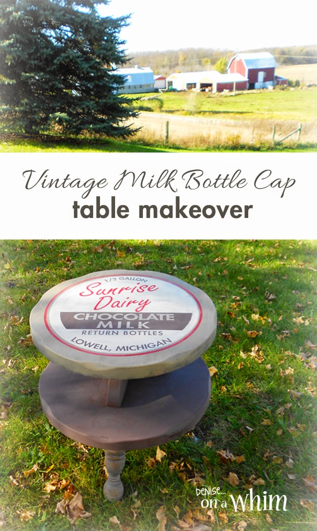 Table Makeover Using a Vintage Milk Bottle Cap Inspired Design from Denise on a Whim