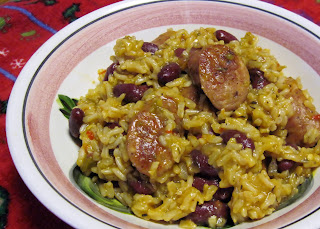 Spicy red beans & rice with andouille sausage