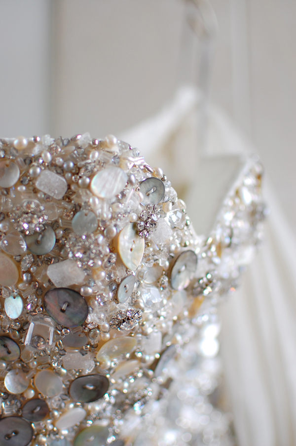 Corset with shell and rhinestone details