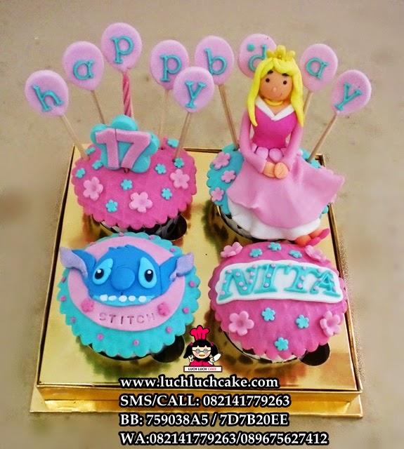 Cupcake Princess Aurora dan Stitch Daerah Surabaya - Sidoarjo