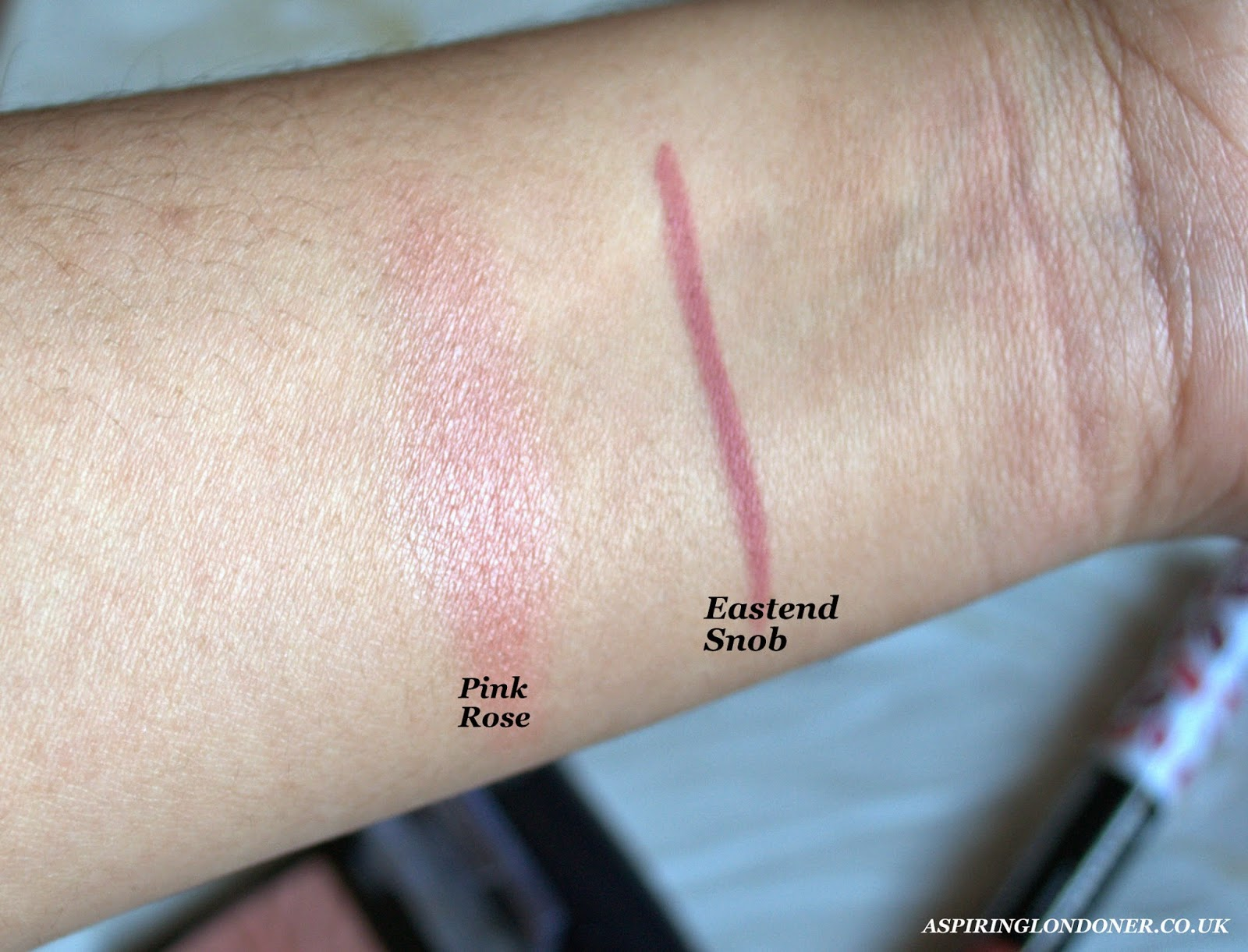 Rimmel Blush Pink Rose Swatch and Rimmel Lipliner Eastend Snob Swatch - Aspiring Londoner