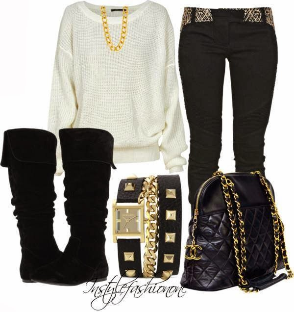 White sweater, black pants, handbag and warm long boots for fall
