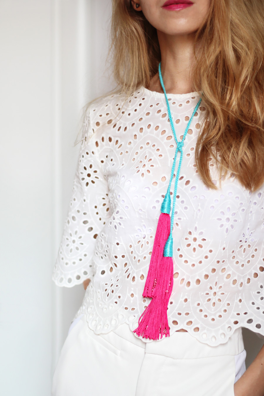 DIY braided tassel necklace tutorial, colorful summer accessories
