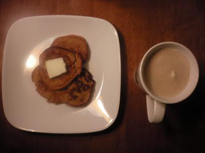Gluten free sweet potato pancakes with latte