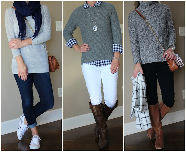 Outfit inspiration for fall and winter, how to style a gray sweater, casual outfit, outfit inspiration