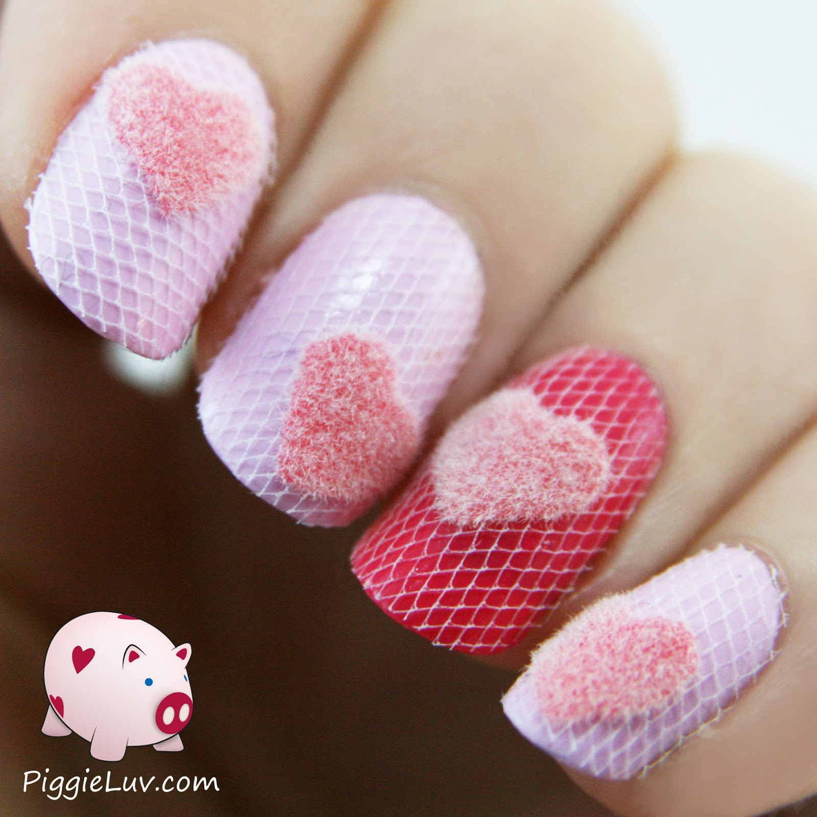 Piggieluv Fuzzy Hearts Nails To Cuddle With