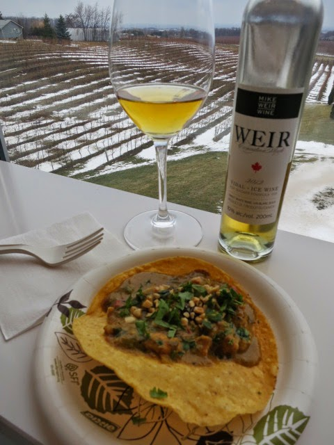 Thai Peanut Chicken Taco paired with Mike Weir Vidal Icewine