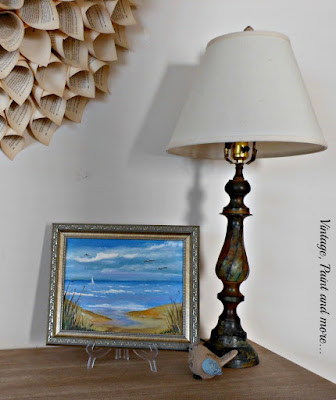 Vintage, Paint and more... vintage coastal/beach summer decor with a rustic lamp, beach canvas