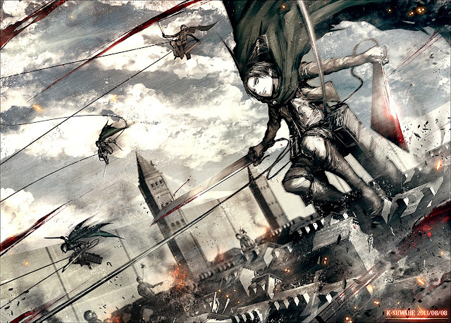 Levi Rivaille Blade Blood 3D Maneuver Gear Cape Attack on Titan Shingeki no Kyojin Anime HD Wallpaper Desktop PC Background 2122