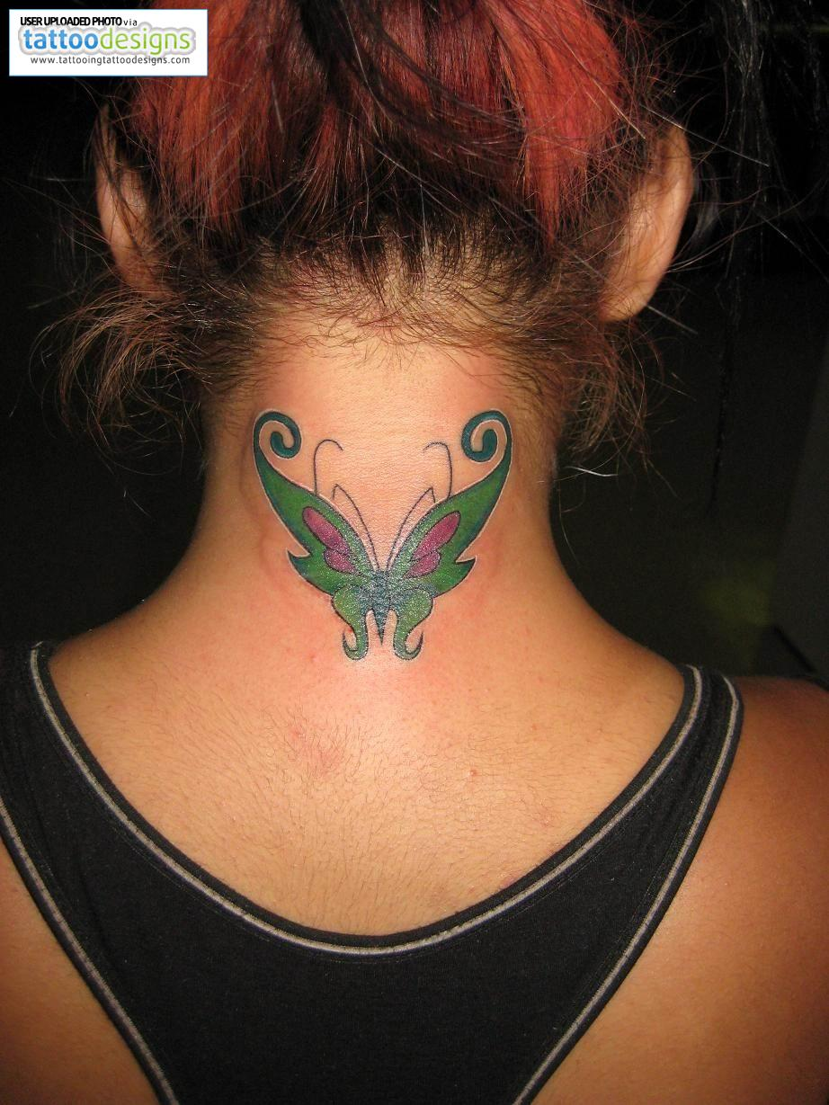 Butterfly Neck Tattoo