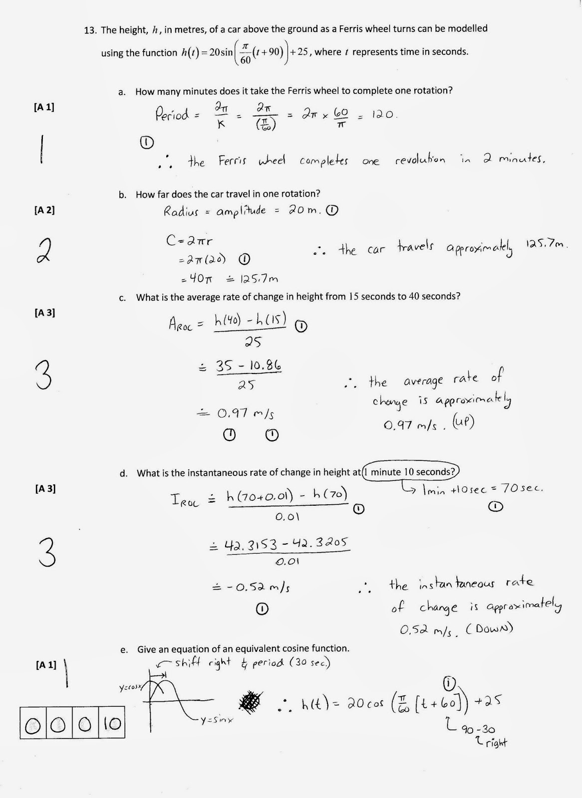 grade 12 trigonometry test pdf