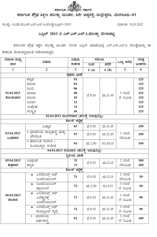 karnataka state sslc examination time table april 2013 malvernweather Image collections