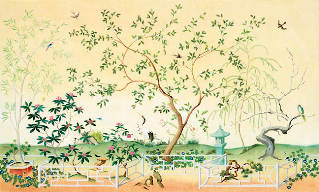 Chinoiserie chic chinoiserie wallpaper from total for Asian mural wallpaper