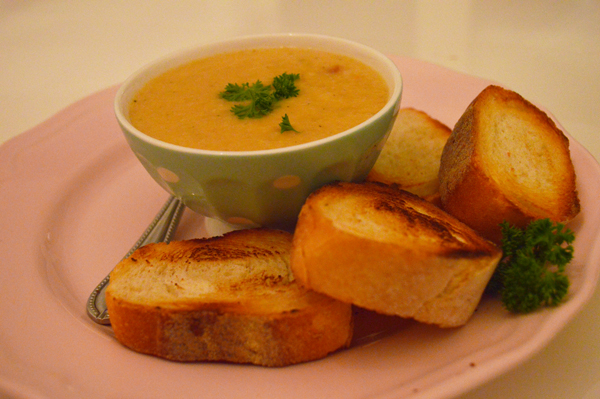hot winter soup with Swiss cheese