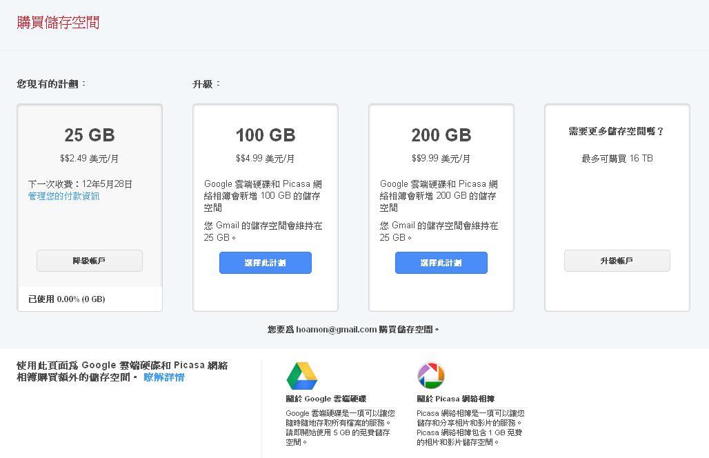 hoamon's sandbox: 感謝 Google Drive ,我又有機會付錢給 Google 了