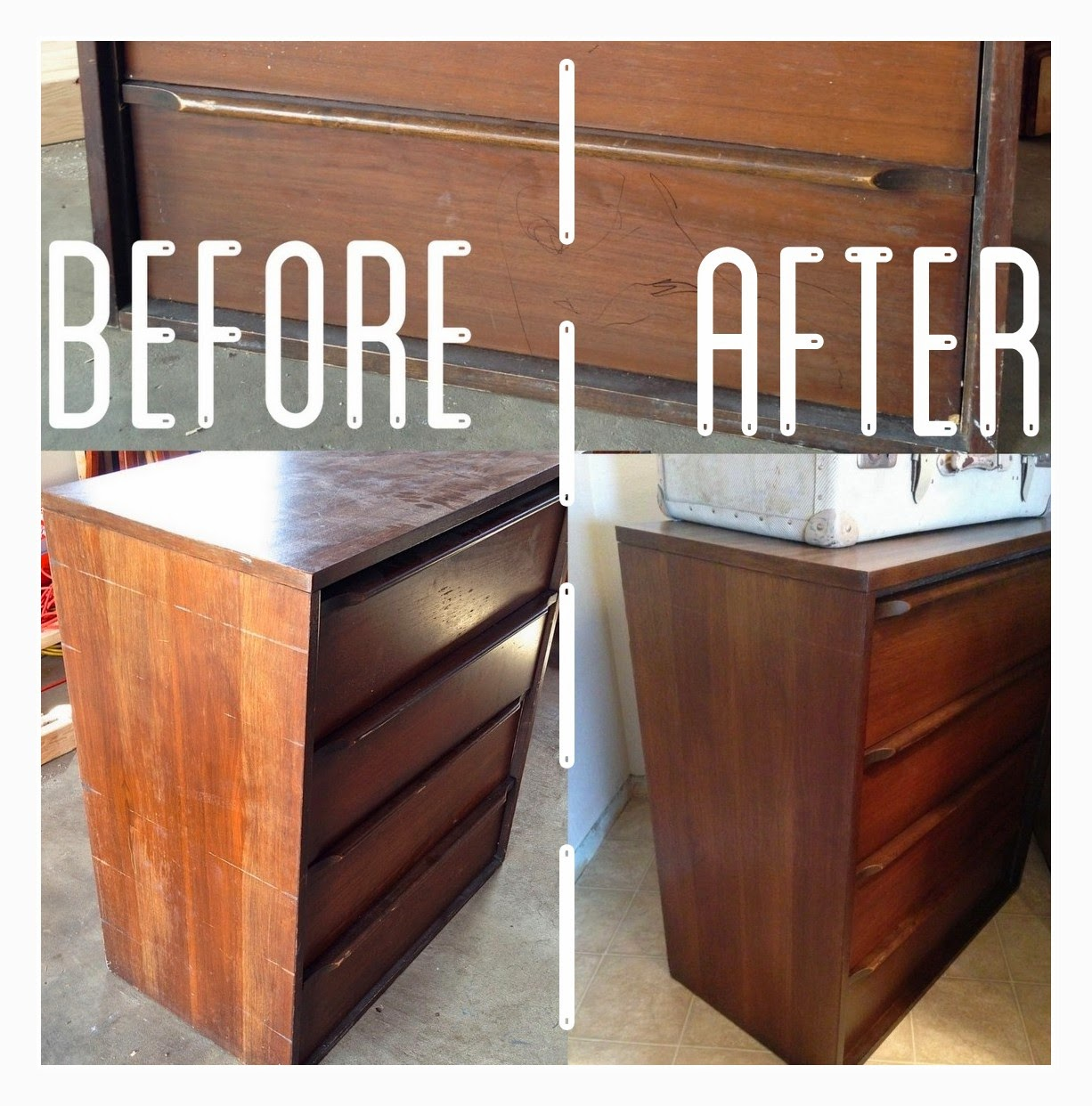 Midcentury Dresser Refinish Before & After