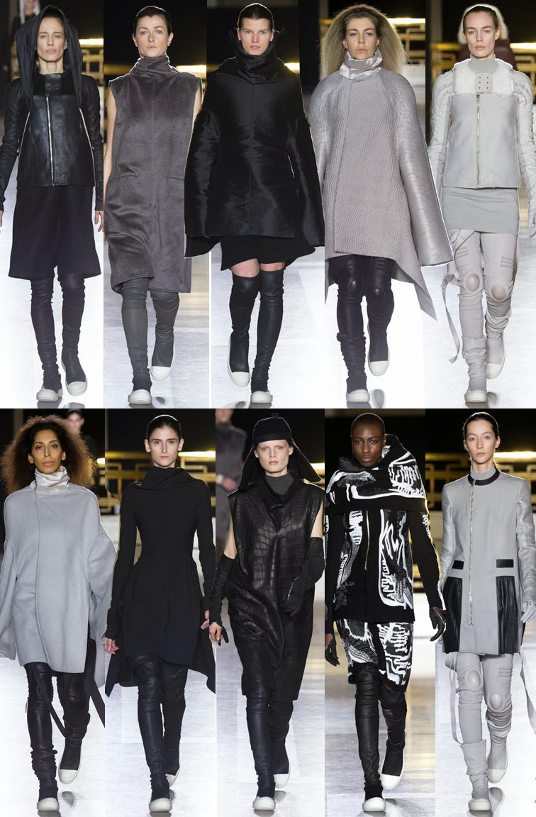 Rick Owens fall winter 2014 runway collection, PFW, Paris fashion week, FW14, AW14