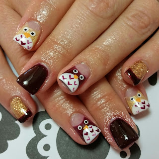 fall owl nail art
