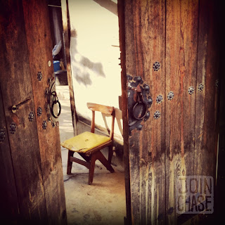 An old chair in Jeonju's Hanok Village in South Korea.