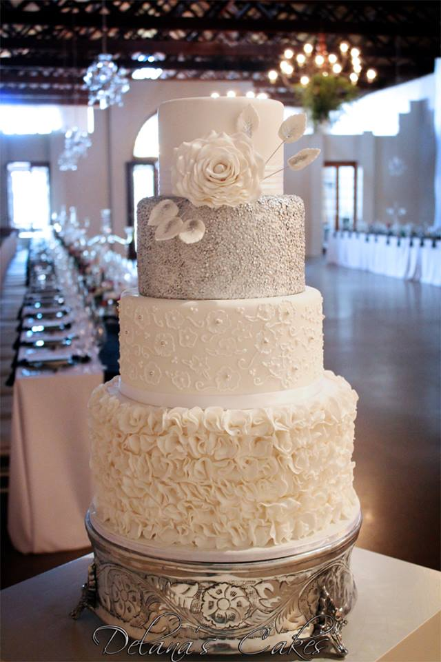 Delana\'s Cakes: Elegant Silver and White Wedding Cake